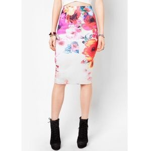 Floral Print Midi Skirt by Material Girl